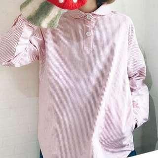 韓國 co. 紅白 直條 圓領 恤衫 polo shirt