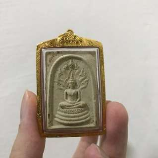 Phra Na prok by Chao Kun Nor B.E. 2513 wat thepsirin encased in real Thai gold case and comes with authenticated TPC Cert