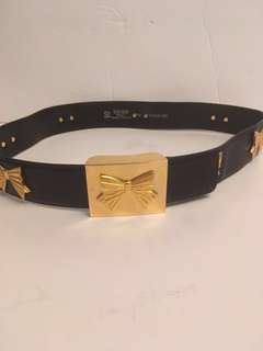 Authentic vintage Escada gold bow leather belt