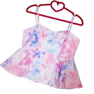 Spring Butterfly and Pink flower Babydoll Pleated Hem Peplum Top