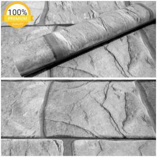 Grosir murah wallpaper sticker dinding batu alam abu abu cerah
