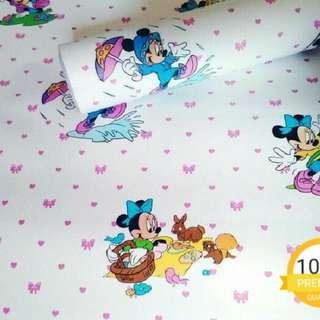 Grosir murah wallpaper sticker dinding putih kartun anak mickey mouse