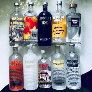 Absolut 200ml, 1L, limited editions, original & assorted flavors, paraphernalia, collectibles, etc