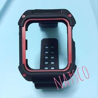Apple Watch 42mm 黑色 x 紅色框 運動型 矽膠 錶帶 strap