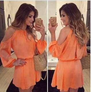 🌺Open-shoulder Chiffon Dress