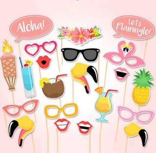 Tropical summer flamingo Photo Booth Props