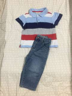 First Impressions Play collared shirt & jeans / hand me downs