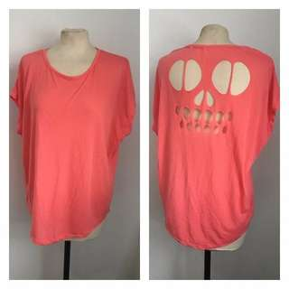 Peach Skull Cut Out Tee (Size 12)
