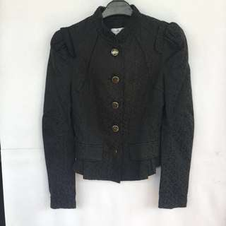 Black pattern long sleeve blazer jacket / Blazer jaket