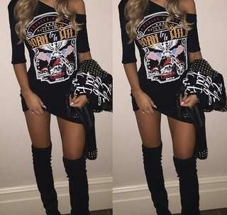 💓 Born to be wild cut out shoulder graphite tumblr tee shirt dress