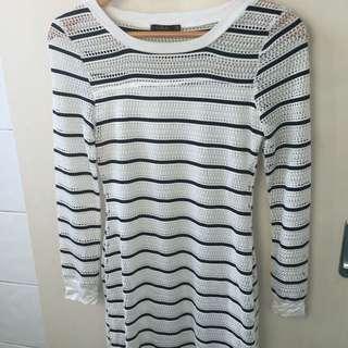 Striped Midi Dress - Bodycon, Long Sleeve Dress
