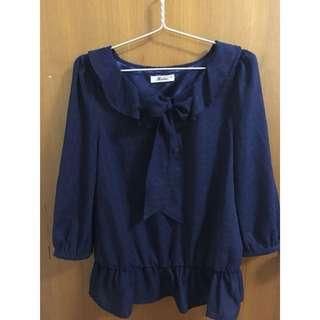 🚚 專櫃少女裝🐰米多莉雅Midoliya 深藍色雪紡棉上衣