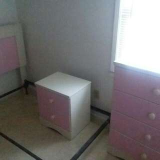 White and pink dresser/head board