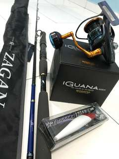 One Set Cast Game For Tenggiri n Toman -Zagan Off Shore Shooter 7Feet/7.6Feet -Bossna Iguana SW Limited 4K High Speed -Lure senses spymission 50G