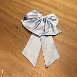 Satin blue huge big bow