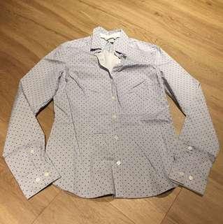 H&M Poka dot Blue Long sleeve shirt