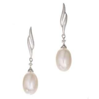 購自英國Ernest Jones 9ct White Gold Cultured Freshwater Pearl Drop Earrings 結婚影相用 高貴典雅易襯 [🙅🏻♂️初戀前度禮物系列#4🙅🏻]淡水珍珠耳環