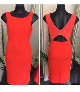 STAPLE Ladies Dress Size 8 Orange Bodycon Dress Cut Out Back Fitted Dress EC