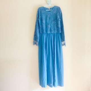 Longdress biru tosca