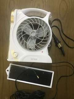 Rechargeable fan with LED lamp with solar panel