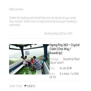Ngong Ping 360 Roundtrip Crystal Cabin voucher for 7 pax!