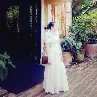 Filipiniana ni Mayora Cream Bridesmaid Gown
