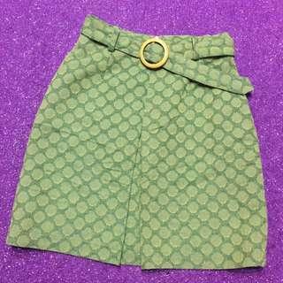 綠色 復古 附腰帶 圓點裙