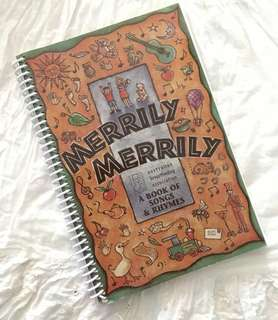 Charity Sale! Merrily Merrily A book of Songs and Rhymes Children's Music Book With Notes