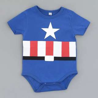Baby Romper captain america design in blue with signature star baby toddler children kids theme boys