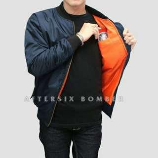 Jaket Bomber Polos Aftersix Navy ORIGINAL High Quality
