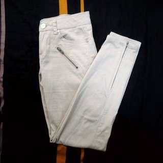 Beige Zipper Pants