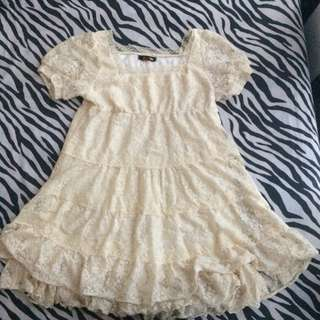 Mini Dress Lace Broken White