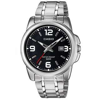 LTP-1314D-1AVDF LTP-1314D-1AV LTP-1314D Brand New Casio Quartz 50m Date 100% Authentic Analog Black Dial Womens Casual Watch w/ Warranty