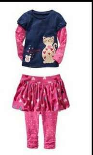 Girl 3 pcs set tee skirt and pant