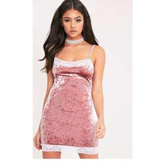 PrettyLittleThing Pink Velvet Dress