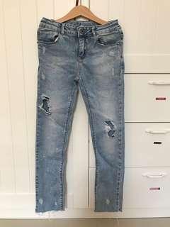 Used zara denim jeans sz 8, pj celana 77cm, lebar pinggang 59cm