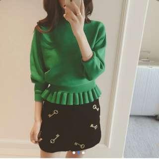 New Korea version of loose wood shing blouse female sleeve head