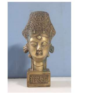 Vintage brass statue Kwan Yin Chinese calligraphy seal circa mid 1900s