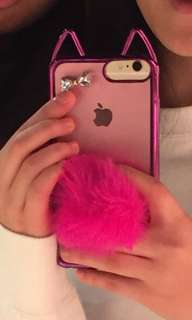 Colourful, pink, furry, used twice phonecase