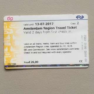 荷蘭阿姆斯特丹地區2日車票