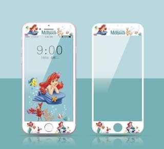 保護膜 IPhone6/7/8/plus : 卡通美人魚公主3D軟邊鋼化膜
