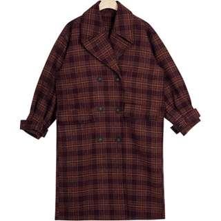 韓紅格紋復古大衣