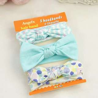 🦁Instock - 3pc assorted headband, baby infant toddler girl children sweet kid happy abcdefgh hello there