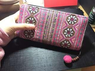 民族銀包clutch in pink colour (made in Thailand )