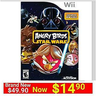 [Brand New] Wii Angry Birds Star Wars. Usual Price: $49.90 Special $14.90 + Free Mail Postage (Brand new in Box and Sealed)  whatsapp 85992490 to collect today from any mrt stn in town