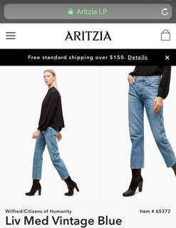 ARITZIA CITIZENS OF HUMANITY LIV JEANS