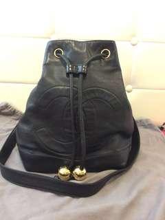 Vintage Chanel Black Lambskin Bucket