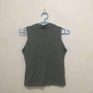 Gray Sleeveless Ribbed Top/ Turtle Neck
