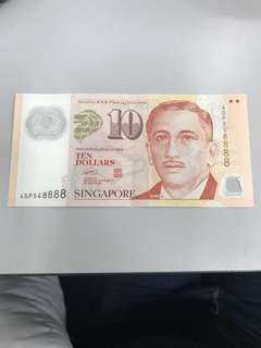 $10 note with nice number
