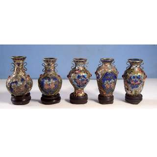 Antique Chinese cloisonne miniature vases set of 5 Tibetan moonstone circa 1950s